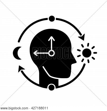 Circadian Rhythms Black Glyph Icon. Internal Daily Clock. Optimize Cognitive Function For Daytime. S
