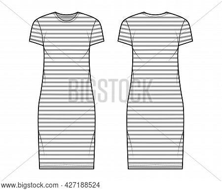Dress Sailor Technical Fashion Illustration With Stripes, Short Sleeves, Oversized Body, Knee Length