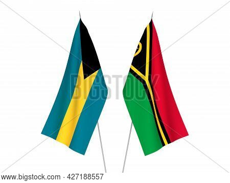 National Fabric Flags Of Commonwealth Of The Bahamas And Republic Of Vanuatu Isolated On White Backg