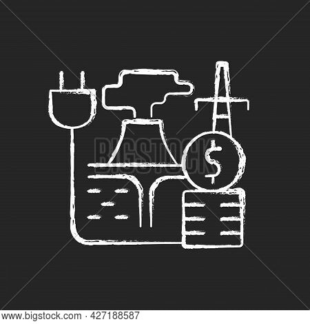 Geothermal Energy Price Chalk White Icon On Dark Background. Sustainable Thermal Power Production. U