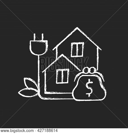 Green Pricing Program Chalk White Icon On Dark Background. Utility Service Cost For Buildings. Payin