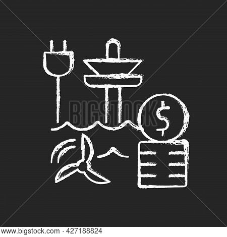 Tidal Energy Price Chalk White Icon On Dark Background. Hydropower Resource Supply Production Cost.