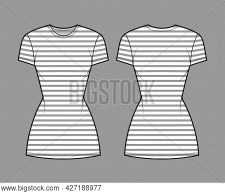 Dress Sailor Technical Fashion Illustration With Stripes, Short Sleeves, Fitted Body, Mini Length Pe