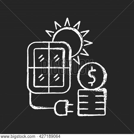 Solar Energy Price Chalk White Icon On Dark Background. Pv Panels For Sun Power Generation. Cost For