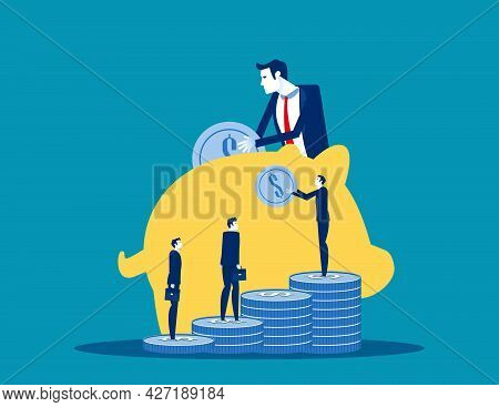 The Business People Save Investment. Investing Plans Concept