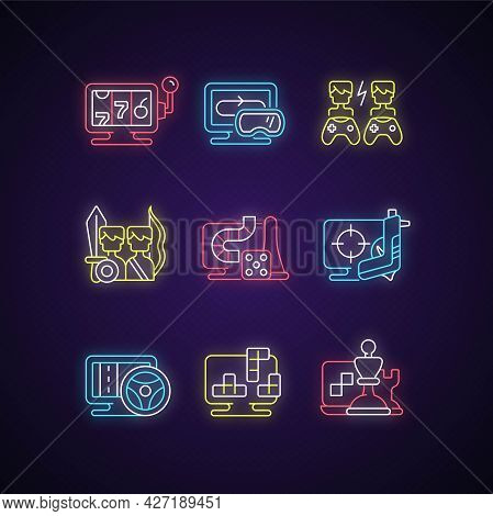 Online Gameplay Neon Light Icons Set. Exciting Time Spending With Friends. Big Team Combat On Battle