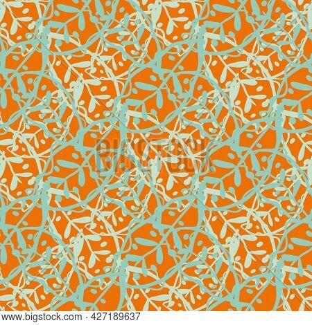 Abstract Calathea Leaf Vector Seamless Pattern Background. Stylised Linocut Effect Orange Aqua Blue