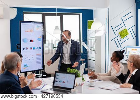 Nervous Businessman Quarrelling In Coworking Having Conflict At Workplace Blaming Accuses For Bad Wo