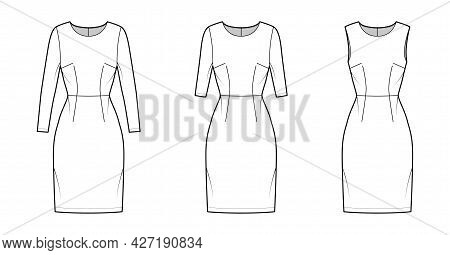 Set Of Dresses Sheath Technical Fashion Illustration With Natural Waistline, Long Elbow Short Sleeve