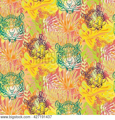 Tiger And Plant Leaves Seamless Pattern Vector. Animal Wild Cat Muzzle And Tropical Tree Forest, Bea