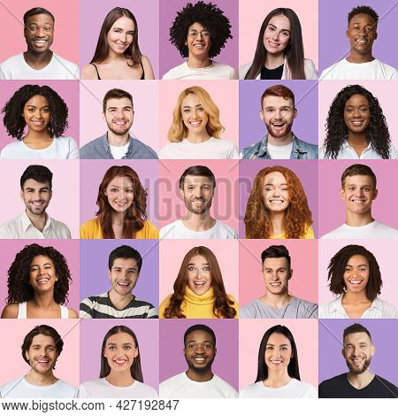 Delighted Multiracial Men And Women Cheerfully Smiling At Camera, Collage