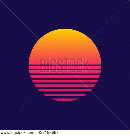Sunset. Retro Sun Of 80s Or 90s. Background For Cyberpunk, Disco Of 80 S And Sunrise In Miami. Neon