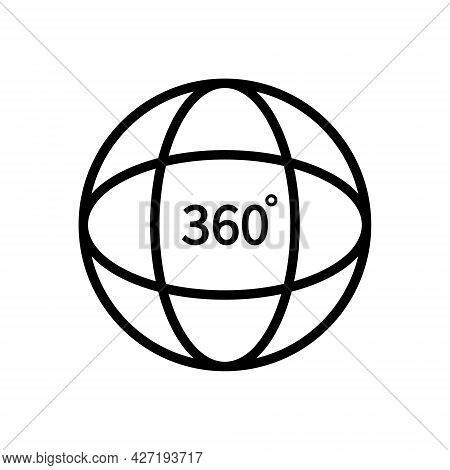 360 Degree View. Logo Of Tour, Globe And Vision. Line Icon For Video, Panorama Of Camera And Full Ro