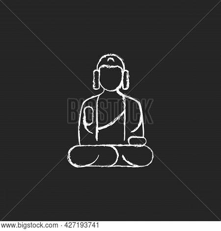 Shan Buddha Museum Chalk White Icon On Dark Background. Buddhist Faith Architecture. Bliss Statue. M