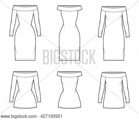 Set Of Dresses Shift Chemise Technical Fashion Illustration With Long Elbow Short Sleeve, Oversized