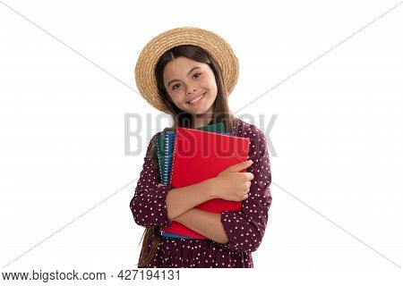Happy Cute Teen Girl In Straw Hat Hold School Workbook For Studying Isolated On White, High School