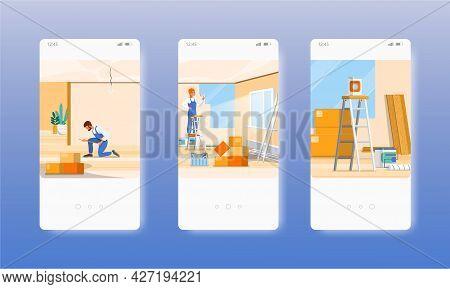 Apartment Repair Service. Wall Restoration. Mobile App Screens, Vector Website Banner Template. Ui,