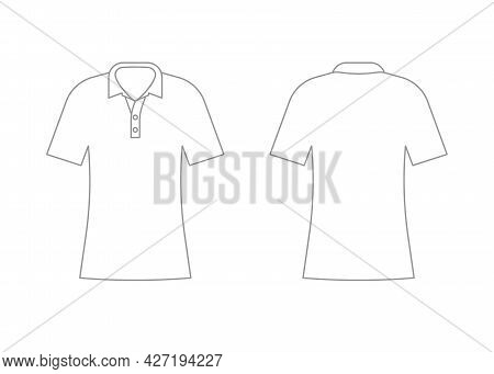 Womens White T-shirt Outline Template With Short Sleeve And V Polo Neck. Shirt Mockup In Front And B