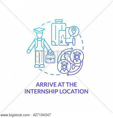 Arrive At Internship Location Concept Icon. International Internship Procedure Abstract Idea Thin Li