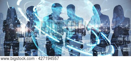 Businesspeople Working Together On Abstract City Background With Glowing Globe Hologram. Internation