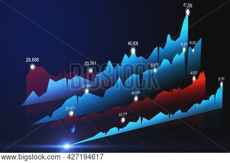 Financial And Stock Market Concept With Rows Of Blue And Red Forex Market Charts And Graphs. 3d Rend