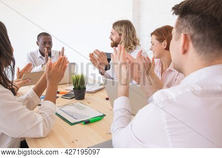 Business People Applause At Meeting In Office Success Cooperation Concept