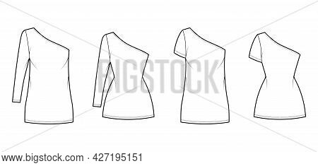 Set Of Dresses One Shoulder Technical Fashion Illustration With Long Elbow Short Sleeve, Oversized F
