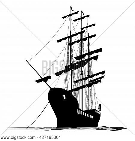 Vector Black And White Illustration Of Anchored Sailboat For Prints On Clothing, Ceramics, Tableware
