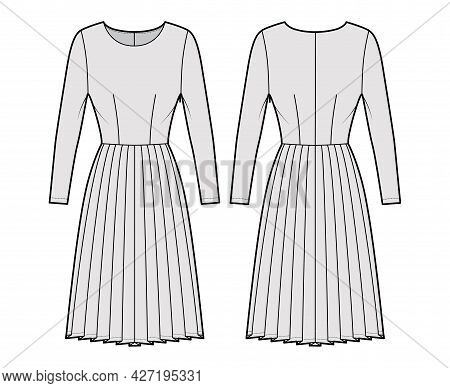 Dress Pleated Technical Fashion Illustration With Long Sleeves, Fitted Body, Knee Length Skirt. Flat
