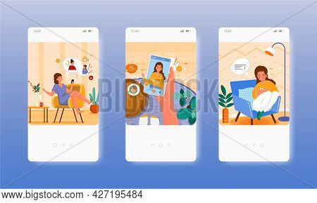 Group Video Call Chat With Friends. Mobile App Screens, Vector Website Banner Template. Ui, Web Site