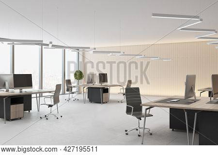 Modern Concrete Coworking Office Interior With Daylight, Furniture And Equipment. 3d Rendering