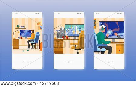 Game Addiction. Teenage Boy Playing Video Game. Mobile App Screens, Vector Website Banner Template.