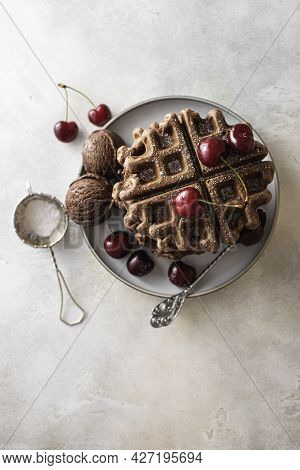Homemade Chocolate Waffles With Berries And Chocolate Ice Cream. Delicious Dessert Or Breakfast.