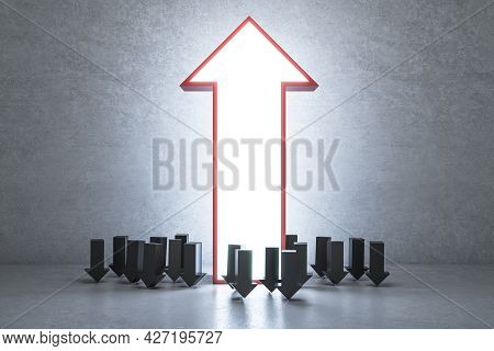 Large Glowing Upward Arrow And Many Small Downward Facing Ones On Concrete Interior Background. Lead