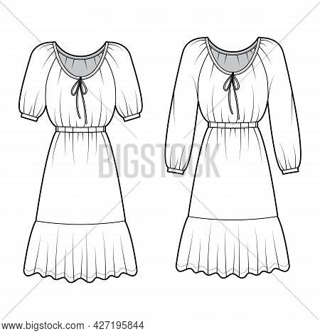 Set Of Dresses Peasant Technical Fashion Illustration With Long Short Sleeves, Fitted Body, Knee Len