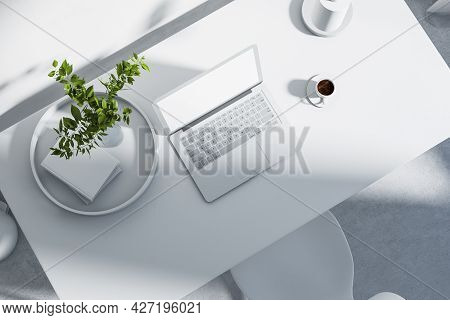 Top View Of White Office Workplace With Empty Laptop And Other Items. Hipster Home Workplace. Mock U