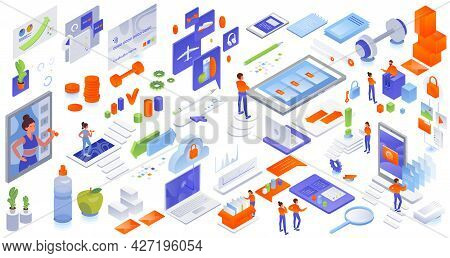 Online Store, Fitness Ecommerce, Cloud Computing And Data Synchronization Services, Vector Isometric