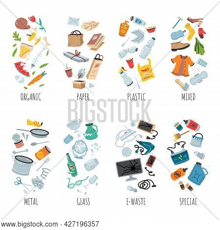Waste Collection, Segregation And Recycling Illustration. Garbage Separated Into Different Types And