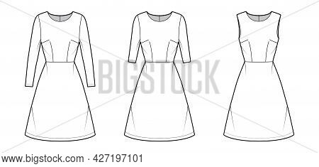 Set Of Dresses A-line Technical Fashion Illustration With Long Elbow Short Sleeves Sleeveless, Fitte