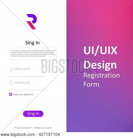 Set Of Sign Up And Sign In Forms. Registration And Login Forms Page. Professional Web Design, Full S