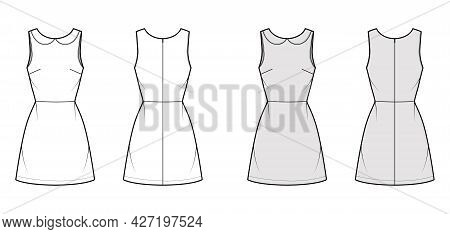 Dress A-line Technical Fashion Illustration With Sleeveless, Peter Pan Collar, Fitted Body, Above-th