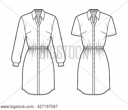 Set Of Dresses Shirt Technical Fashion Illustration With Gathered Waist, Long Short Sleeves, Knee Le