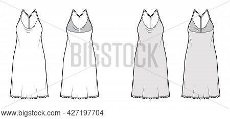 Dress Slip Technical Fashion Illustration With Oversized Body, Knee Length Pencil Skirt, Racerback.
