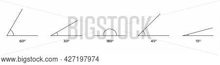 Angle Icons Set. Math Geometric Design Element. 180 60, 45 30, 15 Degree Measure. Triangle Sign. Tec
