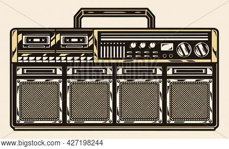 Portable Retro Cassette Recorder With Handle Buttons Radio And Four Audio Speakers Isolated Vector I