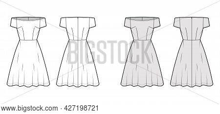 Set Of Dresses Off-shoulder Bardot Technical Fashion Illustration With Short Sleeves, Knee Length Se