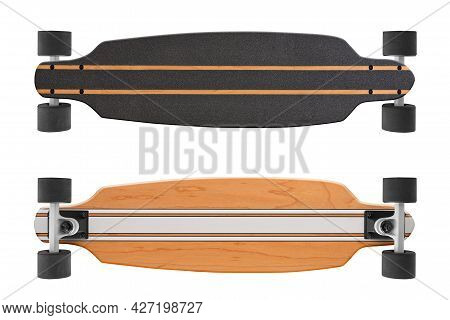 Black And Wooden Skate Longboard Isolated On A White Background With Clipping Path