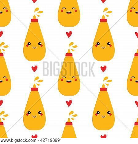 Cute Mustard Bottles, Sauce Packages Characters And Red Hearts Vector Seamless Pattern Background Fo