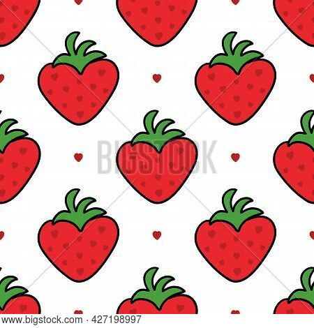 Cute Heart-shaped Doodle Red Strawberries Vector Seamless Pattern Background.
