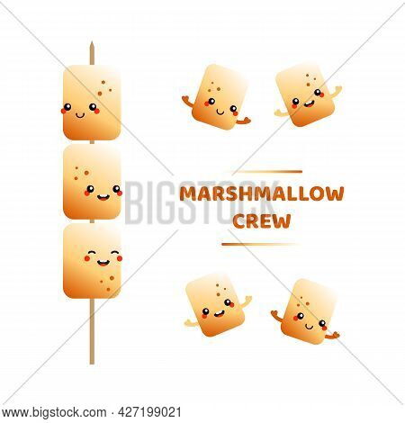 Set, Collection Of Cute Cartoon Style Golden Brown Toasted Marshmallow Characters On Stick, Skewer.